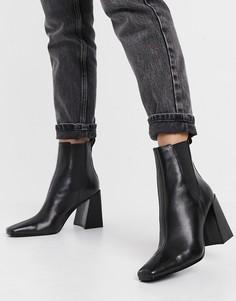 Черные ботинки-челси на расклешенном каблуке Topshop-Черный