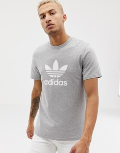 Серая футболка с логотипом-трилистником adidas Originals adicolor-Серый