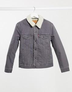 Куртка дальнобойщика из шерпы Levis Type 3-Серый
