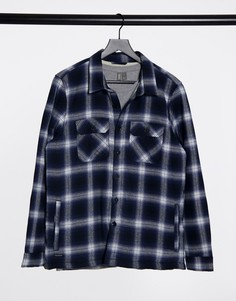 Рубашка в крупную клетку на подкладке из искусственного меха Threadbare-Голубой