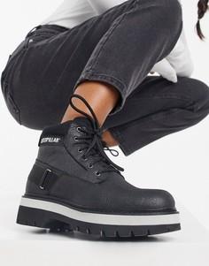 Черные походные ботинки на платформе со шнуровкой CAT Rune-Черный Caterpillar