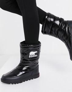 Черные лакированные зимние ботинки с утепляющей подкладкой Sorel Joan Of Arctic-Черный
