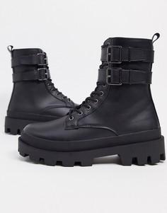 Черные ботинки из искусственной кожи со шнуровкой и двойным ремешком ASOS DESIGN-Черный