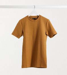 Облегающая футболка из плотной фактурной ткани коричневого цвета ASOS DESIGN Tall-Коричневый