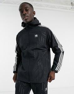 Черная ветровка с трилистником и монограммой adidas Originals-Черный