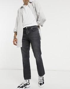 Черные выбеленные джинсы с легким клешем ASOS DESIGN-Черный