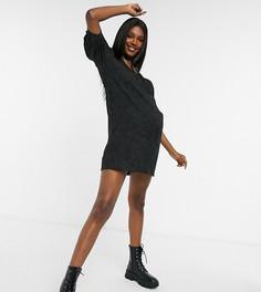 Черное фактурное платье A-силуэта Pieces Maternity-Черный
