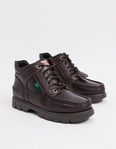 Коричневые кожаные ботинки средней посадки на шнуровке Kickers Lennon-Коричневый