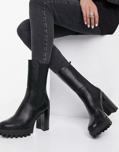 Черные ботинки на каблуке и на спортивной подошве Bershka-Черный