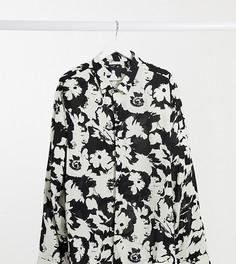Рубашка классического кроя с монохромным цветочным принтом ASOS DESIGN Plus-Черный