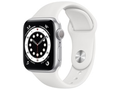 Умные часы APPLE Watch Series 6 40mm Silver Aluminium Case with White Sport Band MG283RU/A Выгодный набор + серт. 200Р!!!
