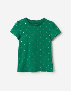 Зелёная футболка в горох для девочки Gloria Jeans
