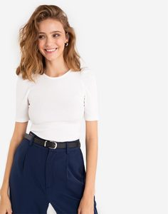 Молочная футболка в рубчик Gloria Jeans