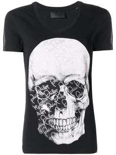 Philipp Plein футболка с принтом черепа и кристаллами