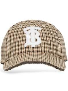 Burberry бейсболка в ломаную клетку с монограммой