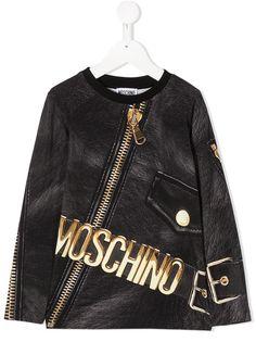 Moschino Kids футболка с принтом и длинными рукавами