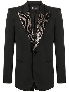 Just Cavalli однобортный пиджак с декорированными лацканами