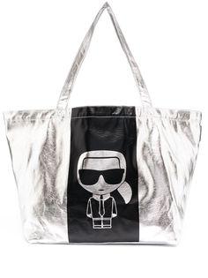 Karl Lagerfeld сумка-тоут с логотипом и эффектом металлик