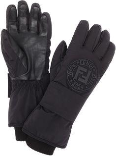 Fendi зимние перчатки с нашивкой-логотипом