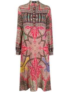 Etro платье-рубашка длины миди с принтом