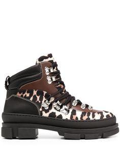 GANNI ботинки с леопардовыми вставками