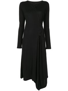 Yohji Yamamoto приталенное платье миди с длинными рукавами