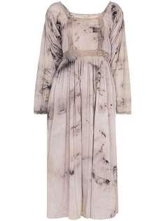 MIMI PROBER платье миди Catherine с принтом тай-дай и кружевом