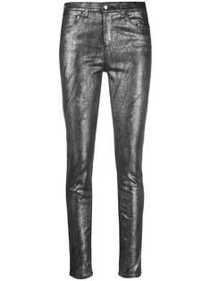 Emporio Armani джинсы скинни средней посадки с эффектом металлик