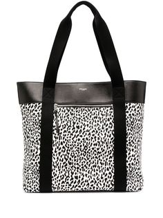 Saint Laurent сумка-тоут с леопардовым принтом