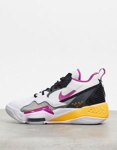 Кроссовки белого, серого и фиолетового цвета Jordan Zoom 92-Белый