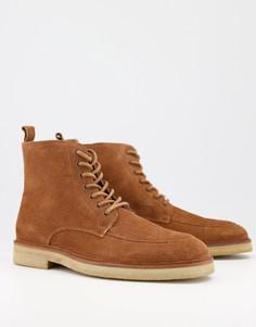 Темно-рыжие замшевые ботинки на шнуровке Walk London Slick Heritage-Светло-коричневый