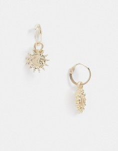 Золотистые серьги-кольца с подвесками в виде солнца Topman-Золотистый
