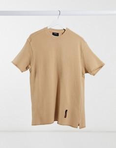 Светло-бежевая футболка с необработанными краями Bershka-Neutral