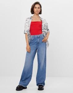 Синие широкие джинсы в стиле 90-х Bershka-Голубой