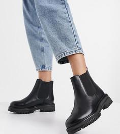 Черные кожаные массивные ботинки челси для широкой стопы Rule London-Черный