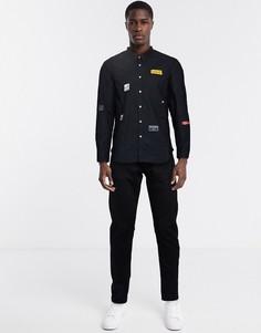 Рубашка с длинными рукавами и ярлыками Love Moschino-Черный