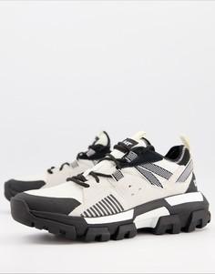 Черно-белые кроссовки на толстой подошве CAT Raider-Белый Caterpillar