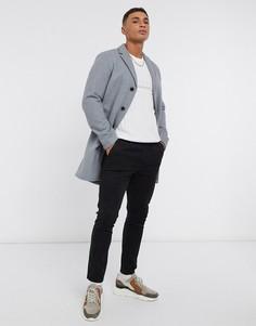 Серое пальто Selected Homme-Серый