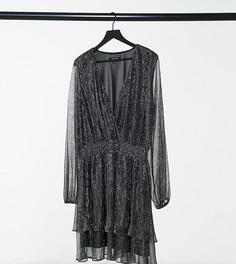Темно-серое плиссированное платье мини с двойной оборкой и блестками Forever New Curve-Серый