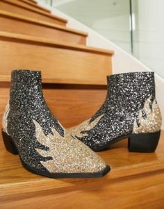 Ботинки челси в стиле вестерн на кубинском каблуке с блестящим принтом в виде пламени ASOS DESIGN-Черный