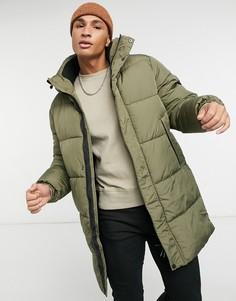 Удлиненная дутая куртка цвета хаки Topman-Зеленый