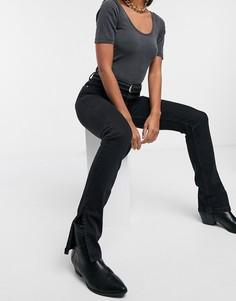 Черные узкие джинсы с разрезами по нижнему краю в стиле 90-х Bershka-Черный