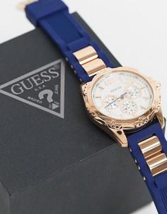 Часы с темно-синим ремешком Guess-Голубой