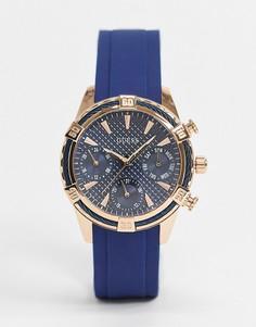 Часы с хронографом и синим ремешком Guess-Голубой
