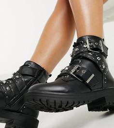 Черные ботинки со стразами, заклепками и пряжками New Look Wide Fit-Черный