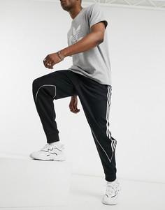 Черные трикотажные джоггеры с 3 полосками adidas Originals-Черный