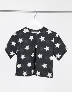 Укороченная пижамная футболка черного цвета со звездами Outrageous Fortune-Мульти