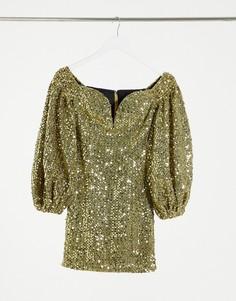 Золотое платье мини с пайетками Rare London-Золотистый