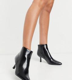 Черные ботинки на широкую стопу на каблуке с острым носком ASOS DESIGN Wide Fit Reunite-Черный