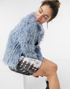 Голубая короткая шуба из искусственного меха Pepe Jeans Bonny-Голубой